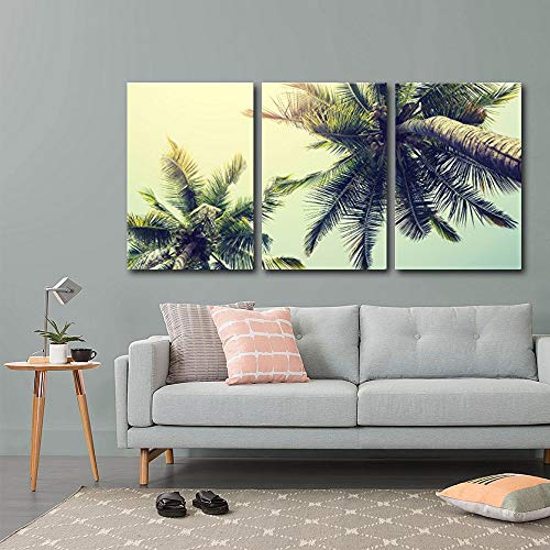 wall26 – Palm Tree on Tropical Beach – Canvas Art Wall Decor – 24 x36 x3 Panels