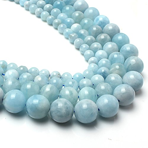 - Love Beads Genuine Aquamarina Beads 10 mm Round Loose Gemstone