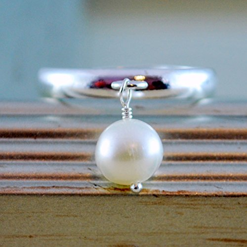 - Silver Charm Ring with White Freshwater Pearl