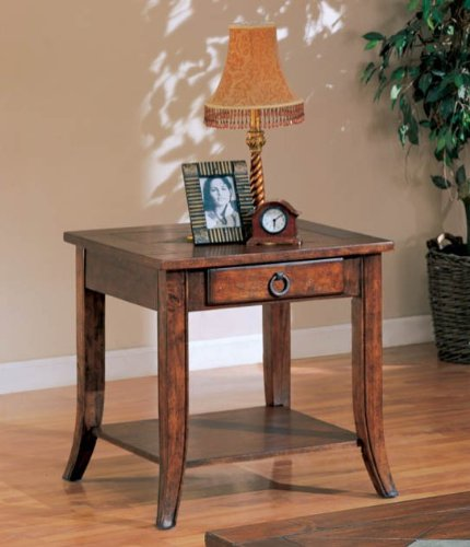 Cheap Coaster Franklin End Table with Slate Tile Top and Storage