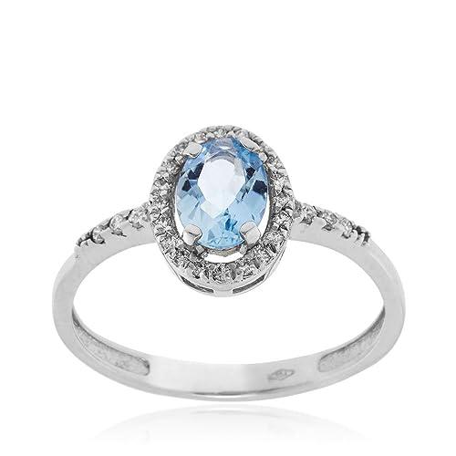 0f087b09c497 Anillo oro blanco con diamantes y aguamarina ovalado - Gioiello ...