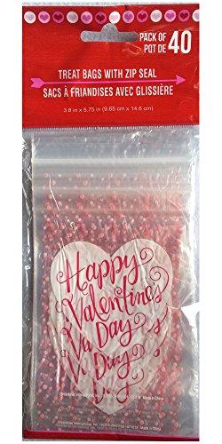 Valentine Treat (Valentine's Treat Bags with Zip Seal, 40 Ct (Happy Valentine's Day Heart))