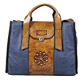 Macaro Victoria - Genuine Colombian Leather - Carry All Bag - Light Blue & Brown