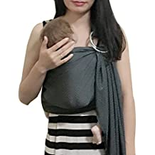 Vlokup Adjustable Baby Water Ring Sling Baby Carrier Infant Wrap with Aluminum Ring Best Baby Gift One Size Fit All Grey