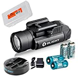 Olight PL-2 PL2 Valkyrie 1200 Lumen Rail Mounted Pistol Light Charging Bundle w/ 2x Olight CR123A Batteries, 2x Olight RCR123 Rechargeable Batteries & Omni-Dok-II Charger & LumenTac Battery Organizer