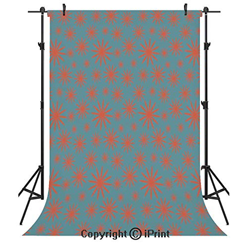 Floral Photography Backdrops,Retro Vintage 60s 50s Inspired Flower on a Blue Tone Backdrop Image,Birthday Party Seamless Photo Studio Booth Background Banner 10x20ft,Petrol Blue Dark Coral ()