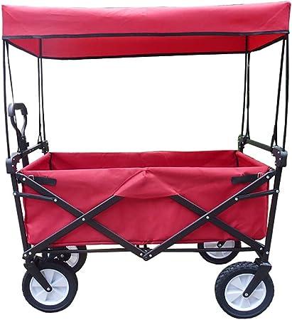 Carrito Plegable/Mano Carro/Carro para pícnic/Carrito de Jardín Plegable de Acero con Capota,Carga Máxima 80 kg,Rojo: Amazon.es: Hogar