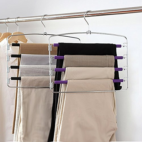 Clothes Pants Hangers 2pack - Multi Layers Metal Pant Slack Hangers,Foam Padded Swing Arm Pants Hangers Closet Storage Organizer for Pants Jeans Scarf Hanging
