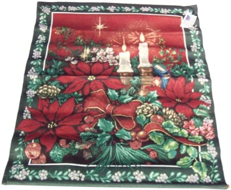 Manual Woodworkers Weavers Evening Solitude Candle Poinsettia Flowers Tapestry Wall Hanging