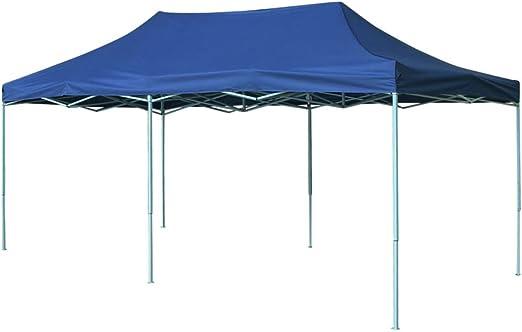 vidaXL Carpa de Fiesta de Jardín Plegable Pop-Up Acero Tela Azul ...