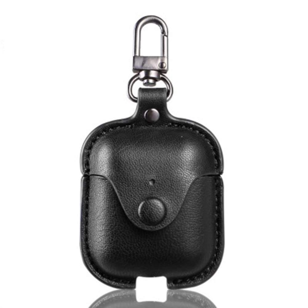 Abnaok Airpodsレザーケース レザー研磨 柔らかく丈夫なケース 携帯電話の外側を摩耗や損傷から保護 AirpodsBluetoothワイヤレスヘッドセットカバー(ブラック)   B07QR7NBW1