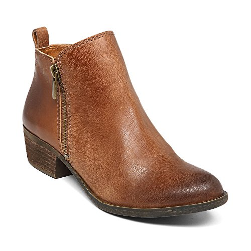 Blivener Women's Ankle Boots Faux Leather Suede Western Round Toe Bootie Stacked Heel Brown EU39 by Blivener