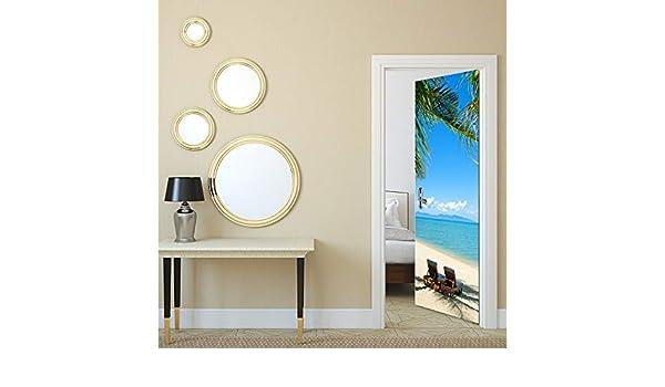 ZZY123 Etiqueta de la Puerta 3D a Prueba de Agua Azul mar Playa Puerta decoración calcomanías hogar Dormitorio Puerta corredera Mural Papel Pintado Autoadhesivo PVC 77 * 200cm: Amazon.es: Hogar