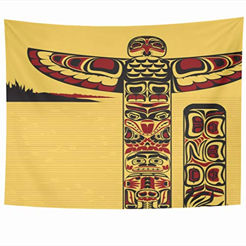 Ahawoso Tapestry 90x60 Inch Craftsmanship Native Tribal North American Totem Red Pole Canada Ancient Northwest Indian Celebration Tapestries Wall Hanging Home Decor for Living Room Bedroom Dorm