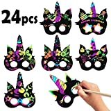 MALLMALL6 24Pcs Unicorn Mask Rainbow Scratch Art Unicorn DIY Masks Party Favors Color Reveal Scratchboard Unicorn Theme Birthday Party Supplies Decorations Dress Up Costumes Crafts Kit for Boys Girls