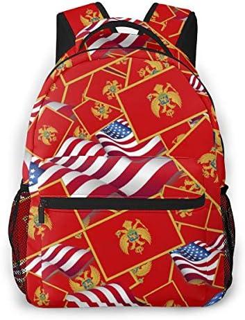 バックパック リュックサック アメリカの国旗とモンテネグロの国旗 ビジネス カジュアル リュック 軽量 超大容量 多機能 衝撃吸収 おしゃれ 通勤 通学 旅行 登山 出張 メンズ レディース