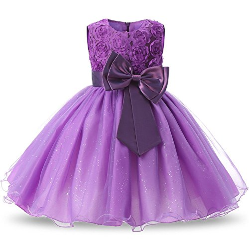 Quality.A Bow Dress Flower Girl Sleeveless Princess Dress Skirt(Purple 120cm(4 Years))