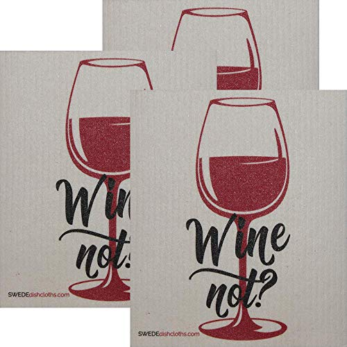 Wine Not? Set of 3 Each Swedish Dishcloths | ECO Friendly Absorbent Cleaning Cloth | Reusable Cleaning Wipes