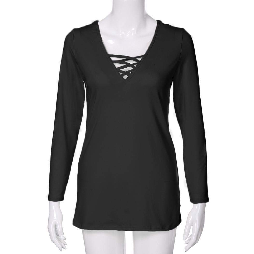 5c040bb76e8e7 Amazon.com  UONQD Women Blouse Long Sleeve Solid V Neck Lace Up Criss Cross  Cami Tank Tops  Clothing