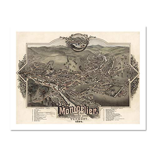 (Doppelganger33 LTD Map Montpelier Vermont 1884 Vintage Picture Large Framed Art Print Poster Wall Decor 18x24 inch Supplied Ready to Hang)