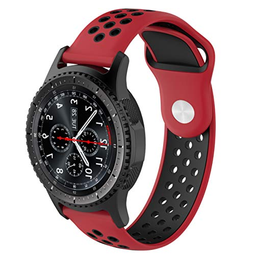 - REPOO Compatible Samsung Gear S3 Ticwatch Band, Fashion Two-Color Silicone Strap Replacement Bands for Ticwatch-Pro/ZTE Quartz/Fossil Q Marshal Gen2/Gear S3 / Ticwatch//Gear2/ Asus (Red-Black)