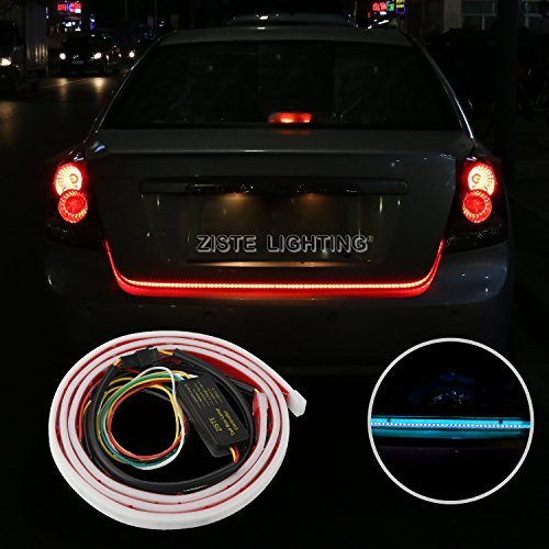 Flexible Led Strip Tailgate Light LED Strips Bar Streamer Brake Trunk Cargo Tail Lights Red/Ice Blue Turn Signal, Parking, Brake, Reverse Lights Double Flash Lighting Waterproof