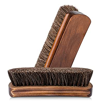 """6.7"""" Horsehair Shoe Shine Brushes with Horse Hair Bristles and Wooden Handle for Boots, Shoes & Other Leather Care (Brown)"""