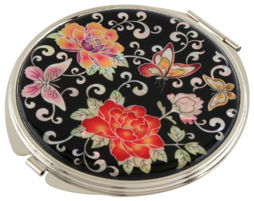 Handmade Handcrafted Mother of Pearl Magnifying Double Compact Cosmetic Makeup Round Hand Mirror lacquer wares inlaid with Peony Butterfly ()
