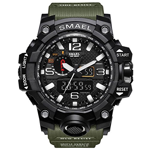 Ireloj Men's Large Face Dual Dial Analog Digital Quartz Military Sport Watch Water Resistant-Army Green