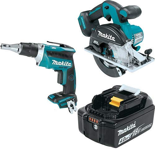 Makita XSF03Z 18V LXT Lithium-Ion Brushless Cordless 6-1/2″ Circular Saw, XSC02Z 18V LXT Lithium-Ion Brushless Cordless Recipro Saw, & BL1840B 18V LXT Lithium-Ion 4.0Ah Battery
