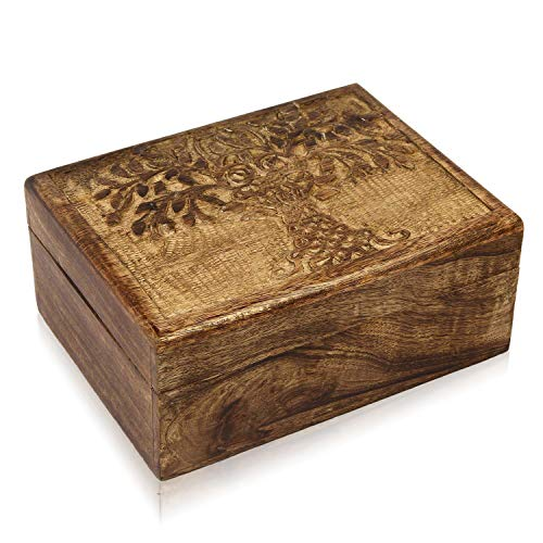 Birthday Gift Ideas Handmade Decorative Wooden Jewelry Box With Tree Of Life Carvings Jewelry Organizer Keepsake Box Treasure Chest Trinket Holder Memory Box Watch Box 9 x 6 Inch Anniversary Gifts     from The Great Indian Bazaar