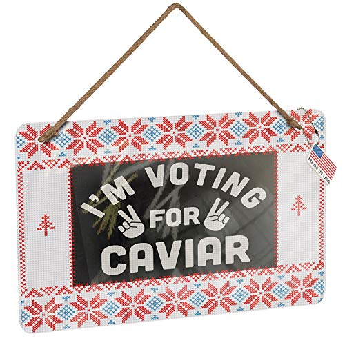 NEONBLOND Metal Sign I'm Voting for Caviar Funny Saying Vintage Christmas Decoration