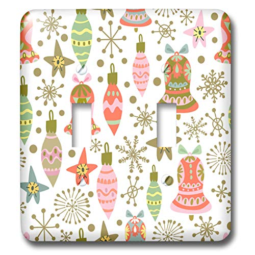 3dRose Anne Marie Baugh - Christmas - Cute Fiesta Christmas Ornaments Pattern - Light Switch Covers - double toggle switch (lsp_289300_2)