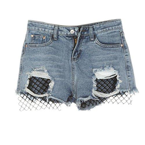 Yogogo Sommer Frauen Jeans Fischernetz Loch Denim Loose Casual Hosen Hosen
