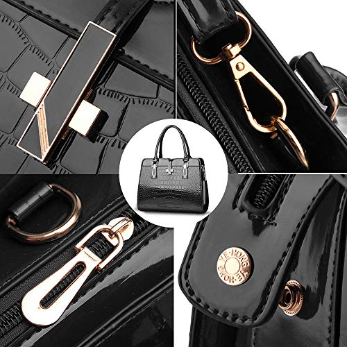 BestoU Women Crossbody Bags PU Ladies Handbags Black Leather Shoulder v7xwqvXrI