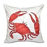 E by design O5PAN467OR15-18 18 x 18 Crab Animal Print Red/Orange Outdoor Pillow