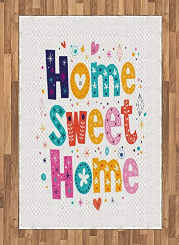 Home Sweet Home Area Rugs 2.6'x5'ft,Typography Lettering in Lively Colors and Floral Elements Diamonds Hearts Non Skid Floor Mat Carpet Entry Throw Runners Rug,Multicolor
