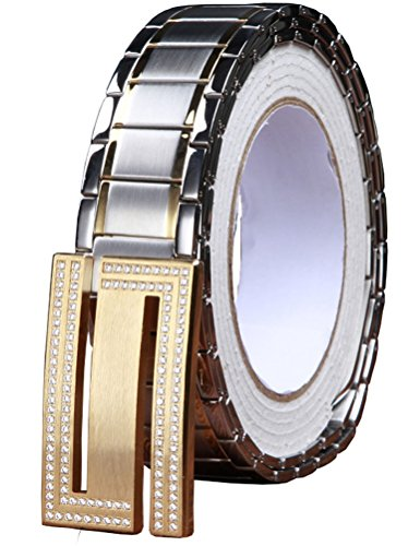 Menschwear Men's Stainless Steel Belt Slide Buckle Adjustable 32mm 148 Golden 120cm by Menschwear