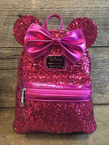 Loungefly Disney Minnie Mouse PInk Sequin Mini Backpack -