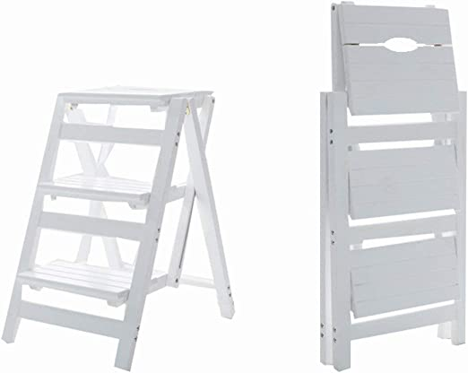 QQXX Taburete de Escalera Plegable Multifunción Robusta Madera Maciza Simple Moderna para Adultos, Escalera de 3 peldaños, 4 Colores de Doble Uso (Color: Blanco): Amazon.es: Hogar