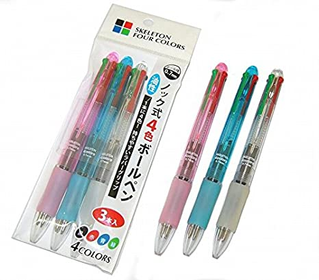 Bolígrafo multicolor de 4 colores Negro Rojo Verde Azul Cuerpo transparente de 0,7 mm con agarre de goma de Japan Pearl (1 paquete de 3 bolígrafos)