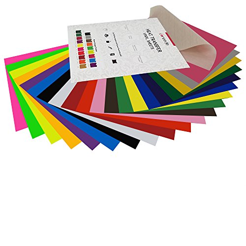 HTV Heat Transfer Vinyl Bundle with Teflon: 20 Assorted Colors, 12