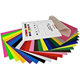 "HTV Heat Transfer Vinyl Bundle: 20 Pack Assorted Colors 12""x10"" Sheets, Iron On Vinyl for Cricut & Silhouette Cameo, BONUS Teflon for Heat Press Machine or Home Iron On DIY T-Shirts & Fabrics"