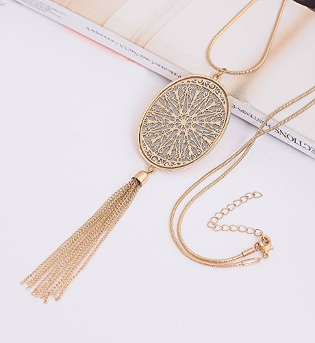 Long Necklaces for Women Disk Oval Pendant Necklace Bohemia Tassel Necklace Set Fashion Y Necklaces Statement Jewelry (Oval-Gold) by LPON (Image #2)