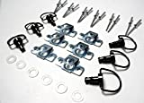 Black Chrome Race Fasteners 1/4 Turn Quick Release 6 Pack with Rivets Dzus Panex D-Ring Length 17mm