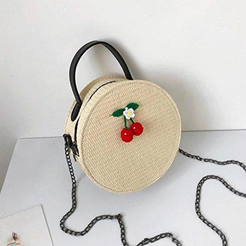 à Vintage mode de Cabas bandoulière Femme sacs JIANGfu tissage rond bandoulière simple à sac femmes messager Mode Sac Femme main Sac à sac Beige Main qXBw578