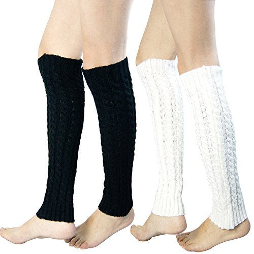 2 Pack of Womens Cable Knit Knee High Knitted Crochet Leg Warmers Long Socks White/Black,One -