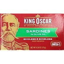 King Oscar Skinless & Boneless SARDINES in Olive Oil 4.4oz (6 Pack)