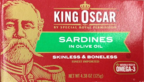 King Oscar Brisling Sardines - King Oscar Skinless & Boneless SARDINES in Olive Oil 4.4oz (6 Pack)