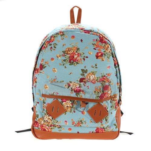 TOOGOO(R) Frauen-Maedchen-Dame Segeltuch-Rucksack Vintage Blumen-Schulbuchtasche Rucksack Schultasche - Blau